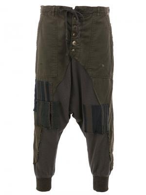 Лоскутные брюки Greg Lauren. Цвет: коричневый