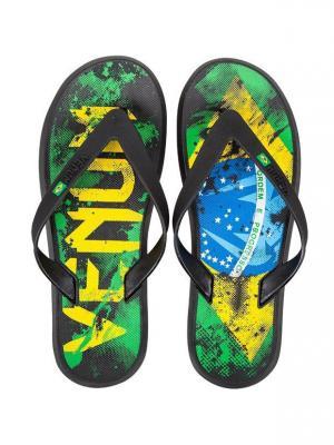 Сланцы Venum Brazilian Flag Sandals - Green/Yellow/Blue. Цвет: зеленый, желтый