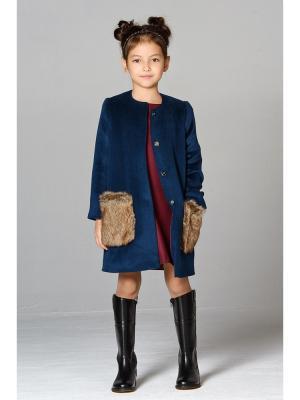 Пальто с мехом MORU. Цвет: темно-зеленый