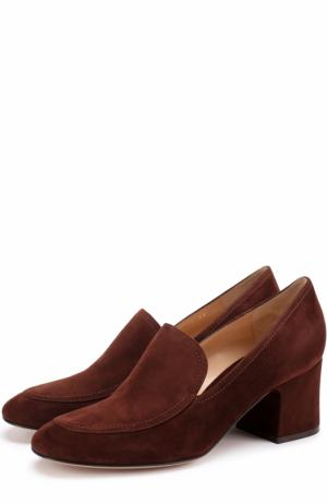 Замшевые туфли Marcel на устойчивом каблуке Gianvito Rossi. Цвет: коричневый
