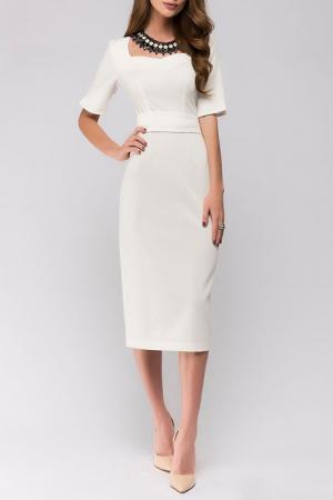 Приталенное платье с короткими рукавами ANASTASIA KOVALL. Цвет: белый