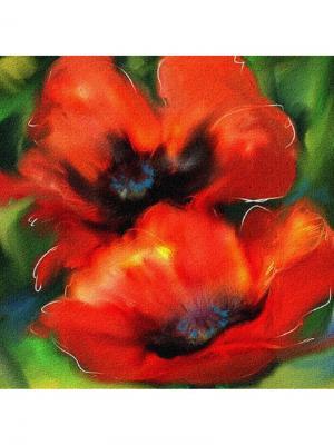 Декоративная наволочка Красные маки Рапира. Цвет: красный, зеленый, черный