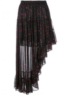 Юбка с цветочным принтом Iro. Цвет: чёрный