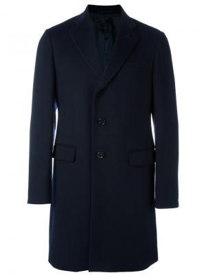 Однобортное пальто Caruso. Цвет: синий