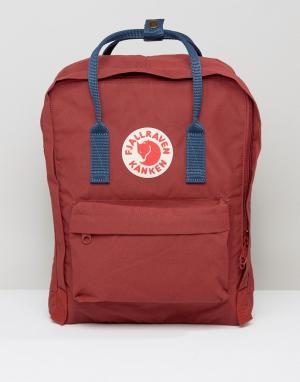Fjallraven Бордовый рюкзак с темно-синими лямками Kanken. Цвет: красный