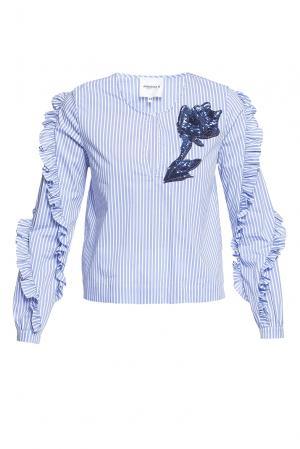 Блуза из хлопка с пайетками 184673 Anna Rita N. Цвет: разноцветный