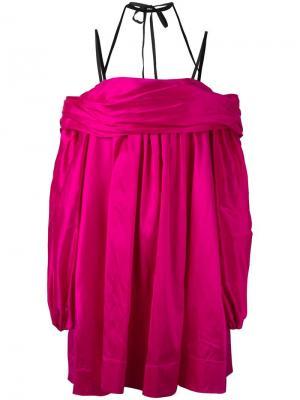 Pleated criss-cross strap dress Isa Arfen. Цвет: розовый и фиолетовый