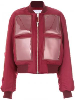 Дутая куртка с виниловыми панелями Push Button. Цвет: красный