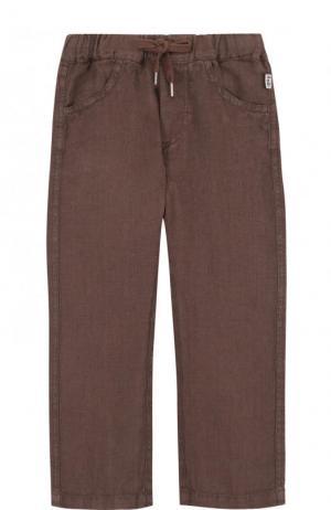 Льняные брюки прямого кроя Il Gufo. Цвет: коричневый