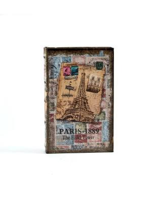Шкатулка-фолиант Париж 21*14*3см Русские подарки. Цвет: серо-голубой, оливковый, коричневый, светло-коричневый, светло-оранжевый, бледно-розовый
