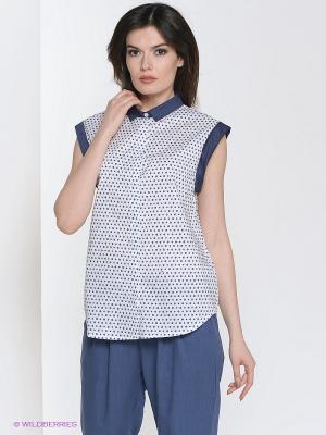Блузка Yuka. Цвет: белый, синий