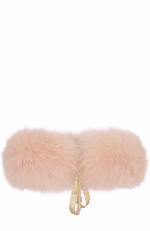 Воротник из меха лисы Yves Salomon Enfant. Цвет: светло-розовый