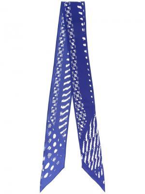 Шелковый шарф с абстрактным узором Rockins. Цвет: синий