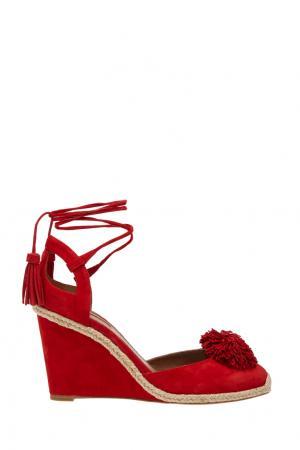 Замшевые туфли Sunshine Wedge Espadrille Aquazzura. Цвет: красный