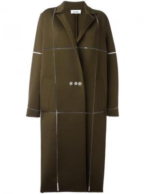 Длинное пальто свободного кроя Courrèges. Цвет: зелёный