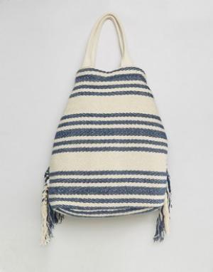 America & Beyond Фестивальный рюкзак в полоску цвета индиго с бахромой. Цвет: синий