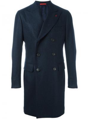 Классическое пальто Isaia. Цвет: синий