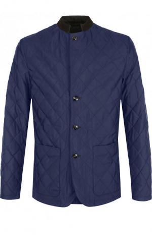 Шелковая стеганая куртка на пуговицах Kiton. Цвет: темно-синий