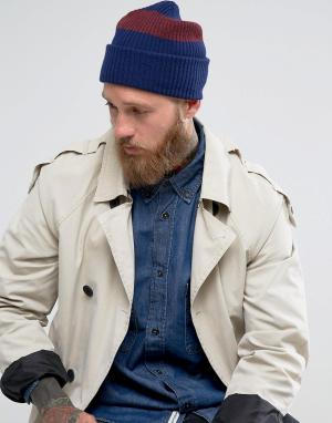 PS Paul Smith Темно-синяя шапка-бини из овечьей шерсти. Цвет: темно-синий