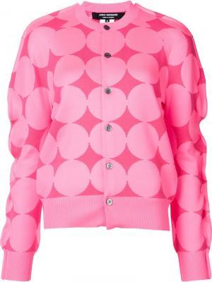 Кардиган с геометрическим рисунком Junya Watanabe Comme Des Garçons. Цвет: розовый и фиолетовый