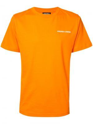 Футболка с принтом логотипа Andrea Crews. Цвет: жёлтый и оранжевый