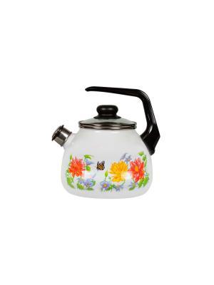 Чайник 2,0 л, со свистком,  СтальЭмаль. Цвет: розовый, зеленый