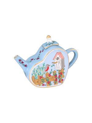 Сувенир-чайник Скворечник Elan Gallery. Цвет: голубой