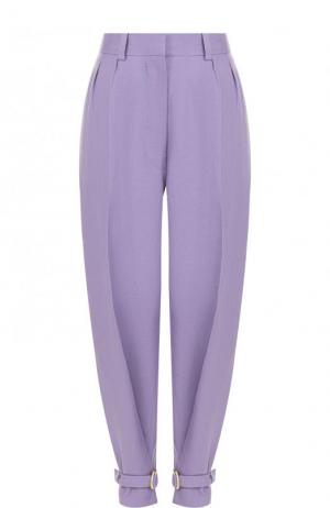 Зауженные однотонные брюки из льна Hillier Bartley. Цвет: лиловый