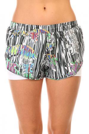Шорты пляжные женские  Tafetб Stripe Shorts Multi CajuBrasil. Цвет: белый,черный,мультиколор