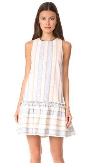Платье без рукавов с оборкой и заниженной талией ENGLISH FACTORY. Цвет: пион розовый в полоску