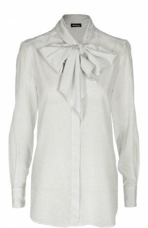 Шелковая блуза в горошек с воротником аскот Kiton. Цвет: белый