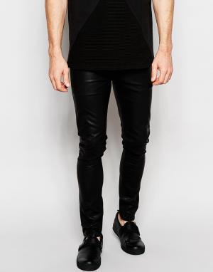 Dark Future Черные супероблегающие брюки из искусственной кожи. Цвет: черный