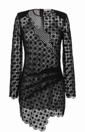 Кружевное мини-платье с длинным рукавом self-portrait. Цвет: черный