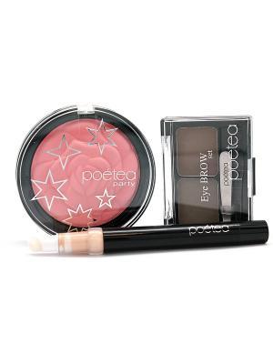 Косметический набор для ухода POETEQ. Цвет: розовый, бежевый, коричневый