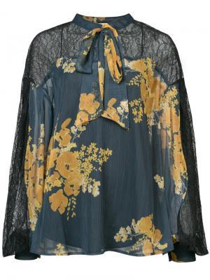 Блузка с цветочным принтом Vaja Sachin & Babi. Цвет: синий