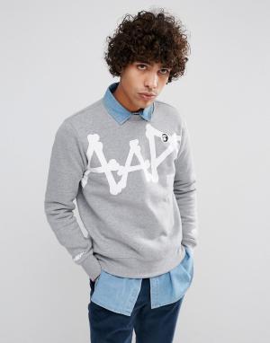AAPE BY A BATHING APE Серый свитшот с большим логотипом. Цвет: серый