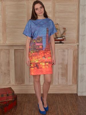 Платье Наталья Новикова. Цвет: синий, оранжевый