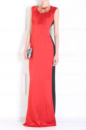 Платье из искусственного шелка Jonathan Saunders. Цвет: красный, черный