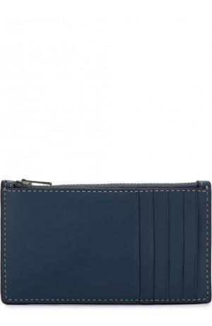 Кожаный футляр для кредитных карт с отделением на молнии Coach. Цвет: синий