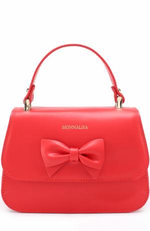 Кожаная сумка с бантом Monnalisa. Цвет: красный