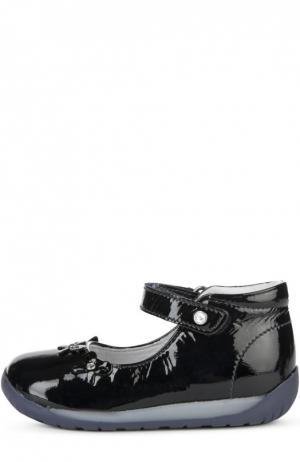 Лаковые туфли с поперечным ремешком Falcotto. Цвет: черный