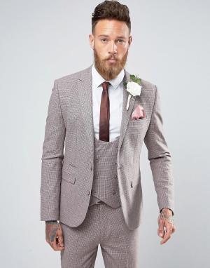 ASOS Розовый пиджак узкого кроя из ткани с добавлением шерсти и принтом гус. Цвет: розовый