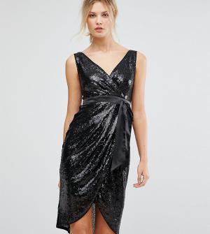 TFNC Tall Платье миди с пайетками и атласным поясом. Цвет: черный