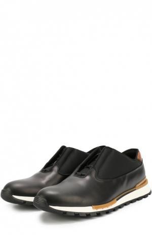 Кожаные кроссовки на шнуровке с контрастной отделкой задника Berluti. Цвет: черный