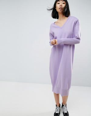 ASOS White Вязаное платье миди с подплечниками. Цвет: фиолетовый