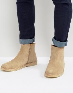 Zign Замшевые ботинки с молнией. Цвет: светло-бежевый