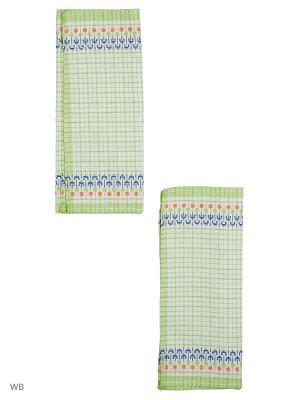Набор полотенец лен Украинка Римейн. Цвет: зеленый