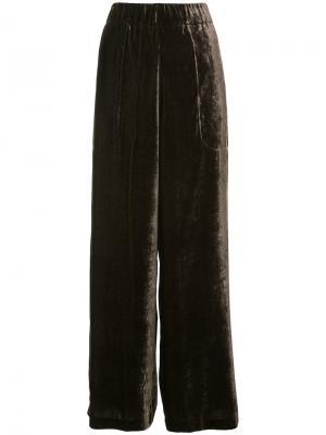 Velour palazzo trousers Uma Wang. Цвет: коричневый