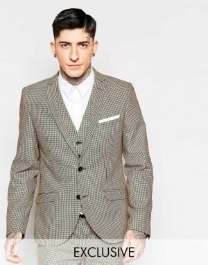 Heart & Dagger Супероблегающий пиджак в ломаную клетку. Цвет: коричневый