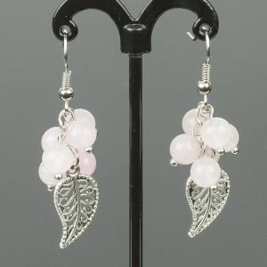 Серьги гроздь розовый кварц Бусики-Колечки